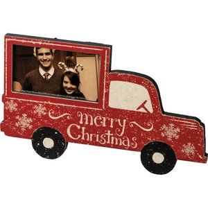 Country Christmas Vintage Red Truck Photo Frame